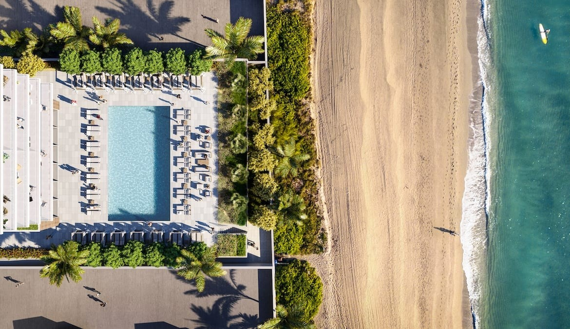 2000 Ocean Condos Aerial of Building and Beach