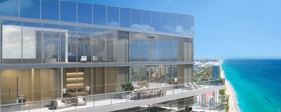 Rendering of Armani Casa Condos exterior during the day.
