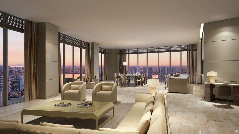 Rendering of Armani Casa Condos suite in the evening.