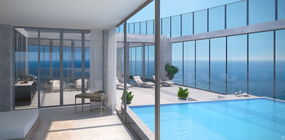 Rendering of Armani Casa Condos indoor swimming pool.