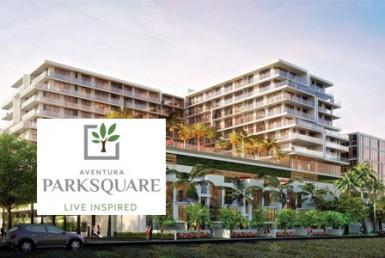 Aventura Park Square Condos Building with Logo Overlay