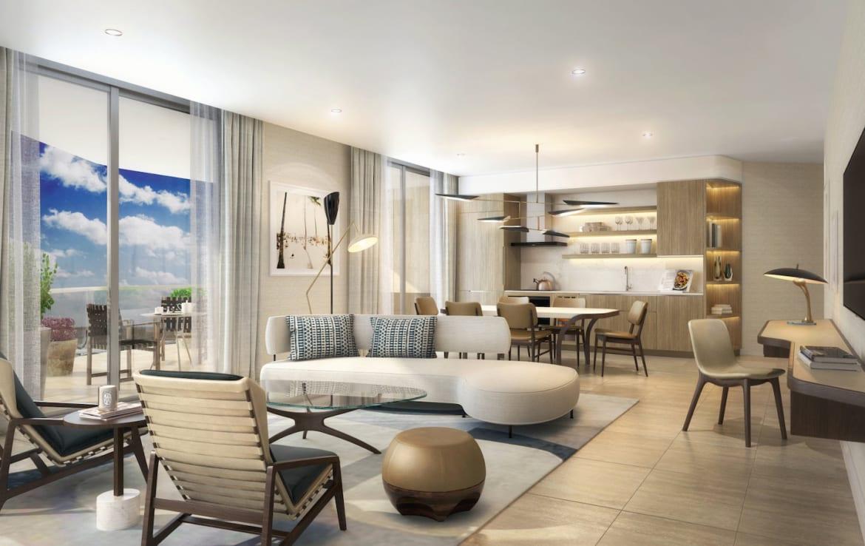 Four Seasons Residences Suite Open-Concept Living Area