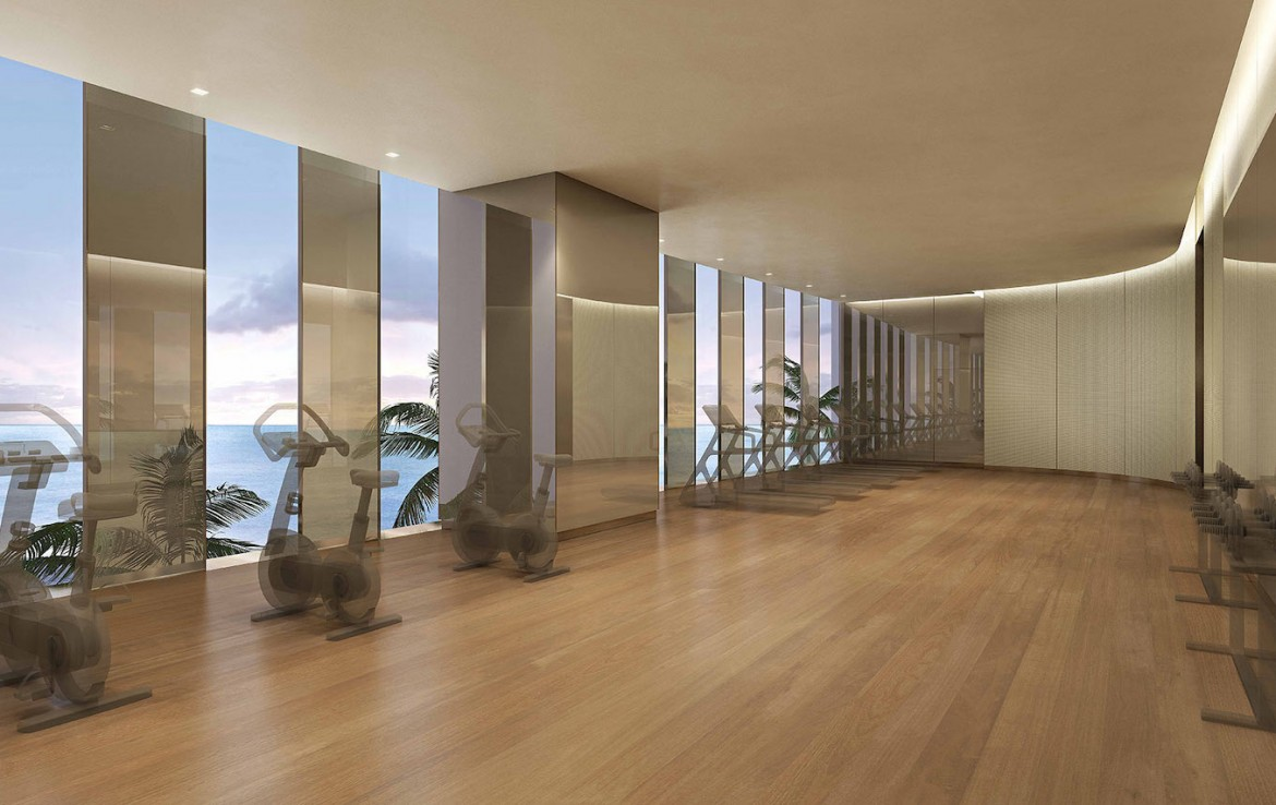 Rendering of Armani Casa gym.
