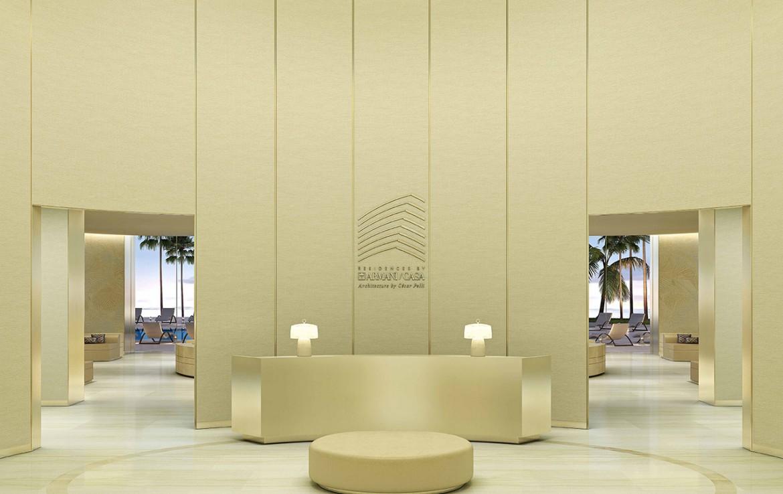 Rendering of Armani Casa lobby.
