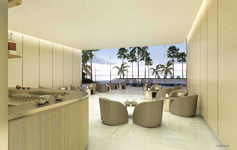 Rendering of Armani Casa lobby bar.