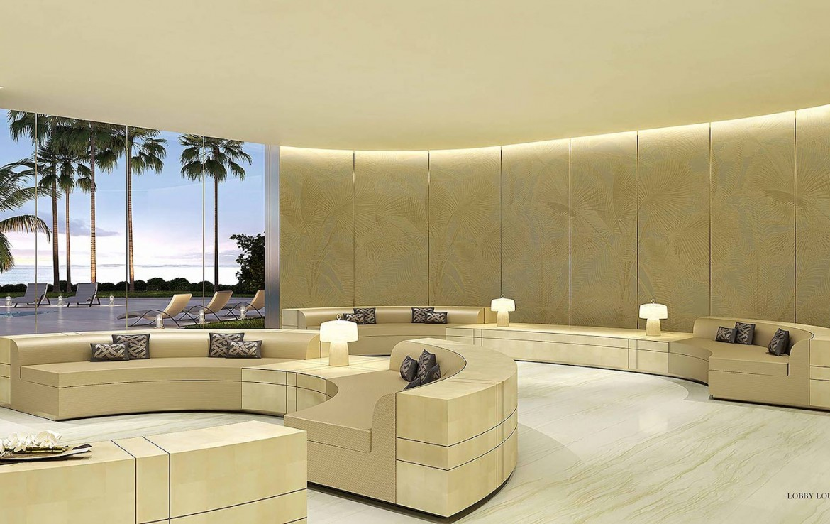 Rendering of Armani Casa lobby lounge.