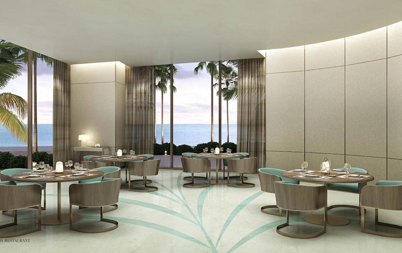 Rendering of Armani Casa lobby restaurant.