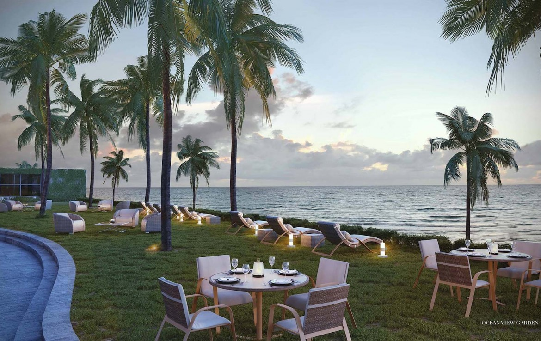 Rendering of Armani Casa ocean view garden.