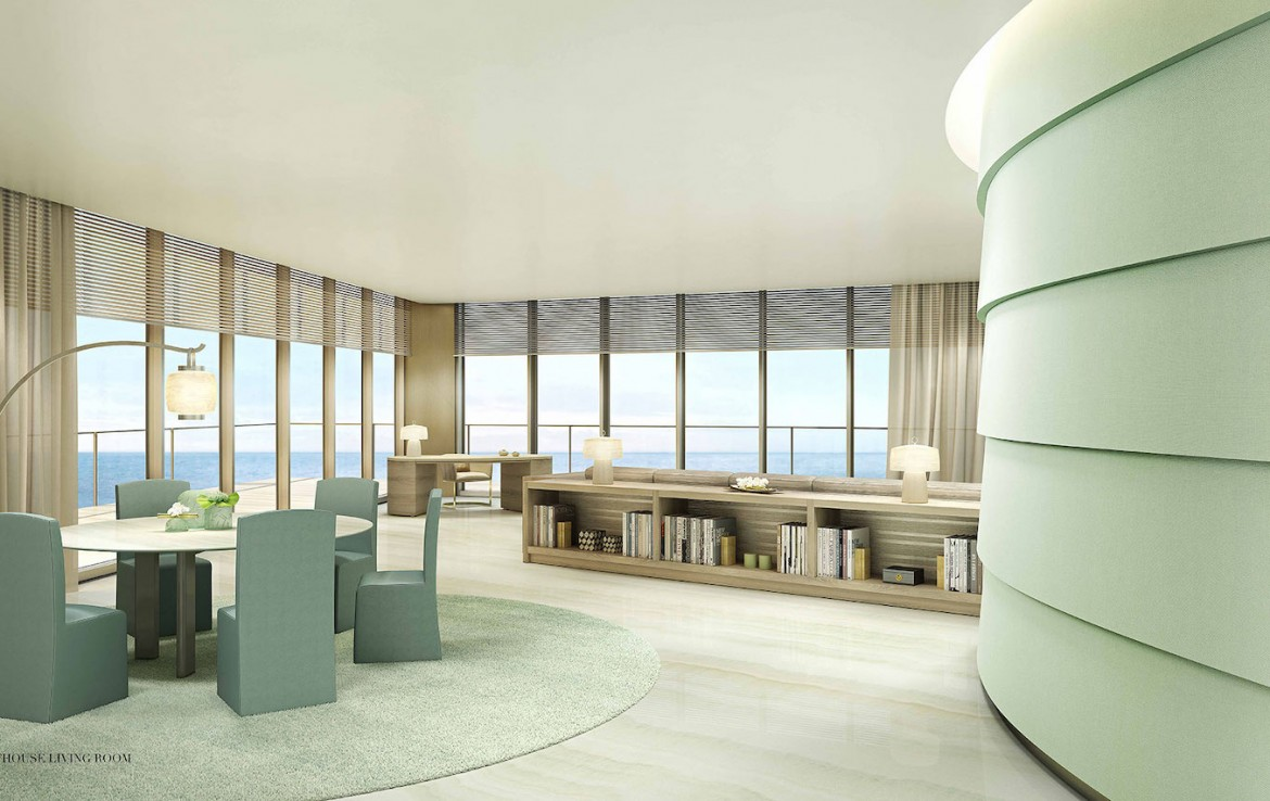 Rendering of Armani Casa penthouse living room.