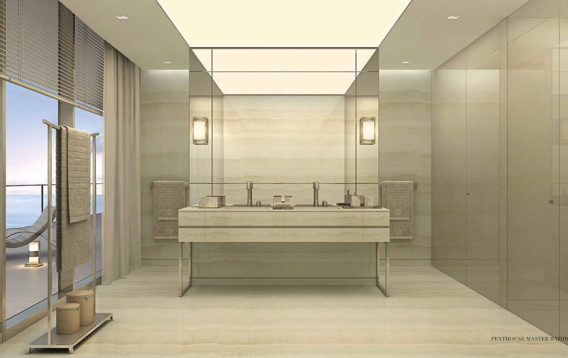 Rendering of Armani Casa penthouse master bathroom.