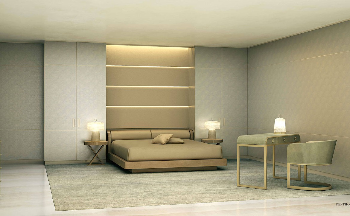Rendering of Armani Casa penthouse master bedroom.