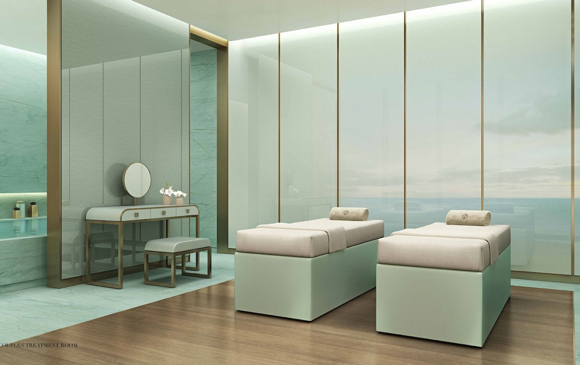 Rendering of Armani Casa SPA couples treatment room.