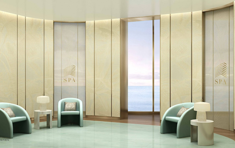 Rendering of Armani Casa SPA lounge.
