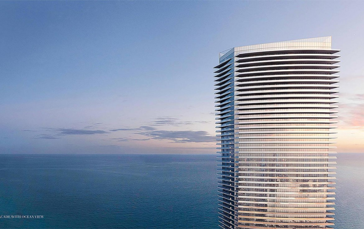 Rendering of Armani Casa West facade with ocean view.