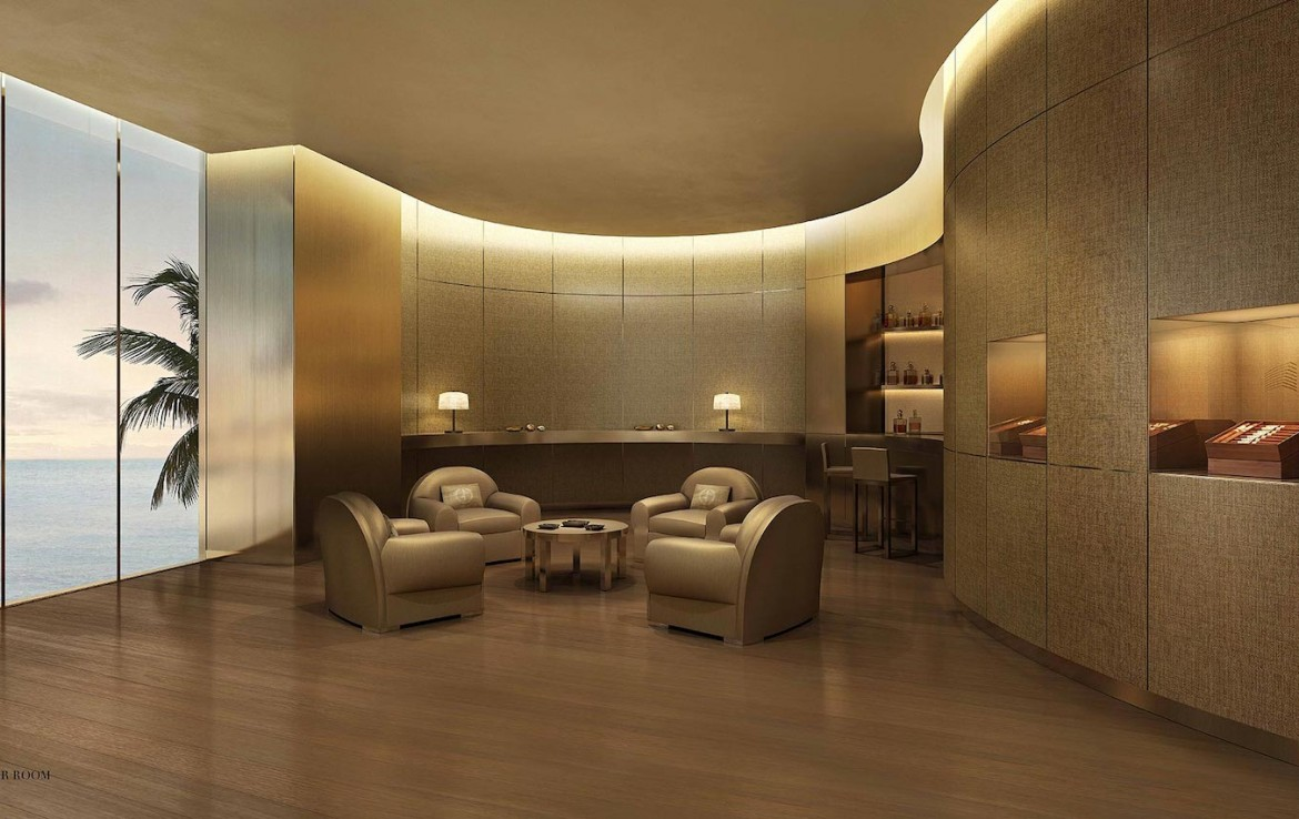 Rendering of Armani Casa cigar room with view.