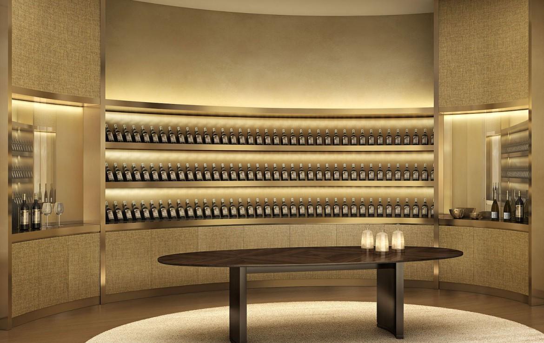 Rendering of Armani Casa wine cellar.