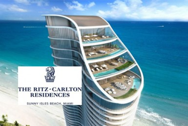The Ritz-Carlton Residences Sunny Isles Building with Logo Overlay