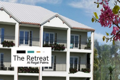 The Retreat at Regal Palms Building Exterior with Logo Overlay