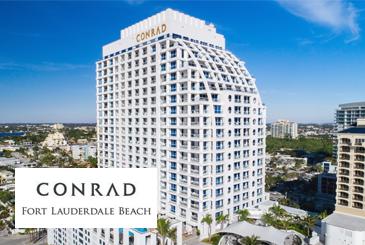 Full exterior view of Conrad Ft. Lauderdale condos in Miami.