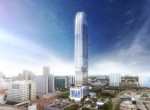 Full exterior rendering of OKAN Tower with view of surrounding buildings.