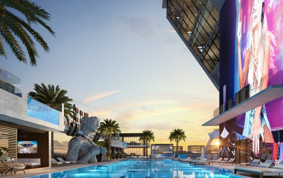 Rendering of E11even Hotel and Residences pool at night